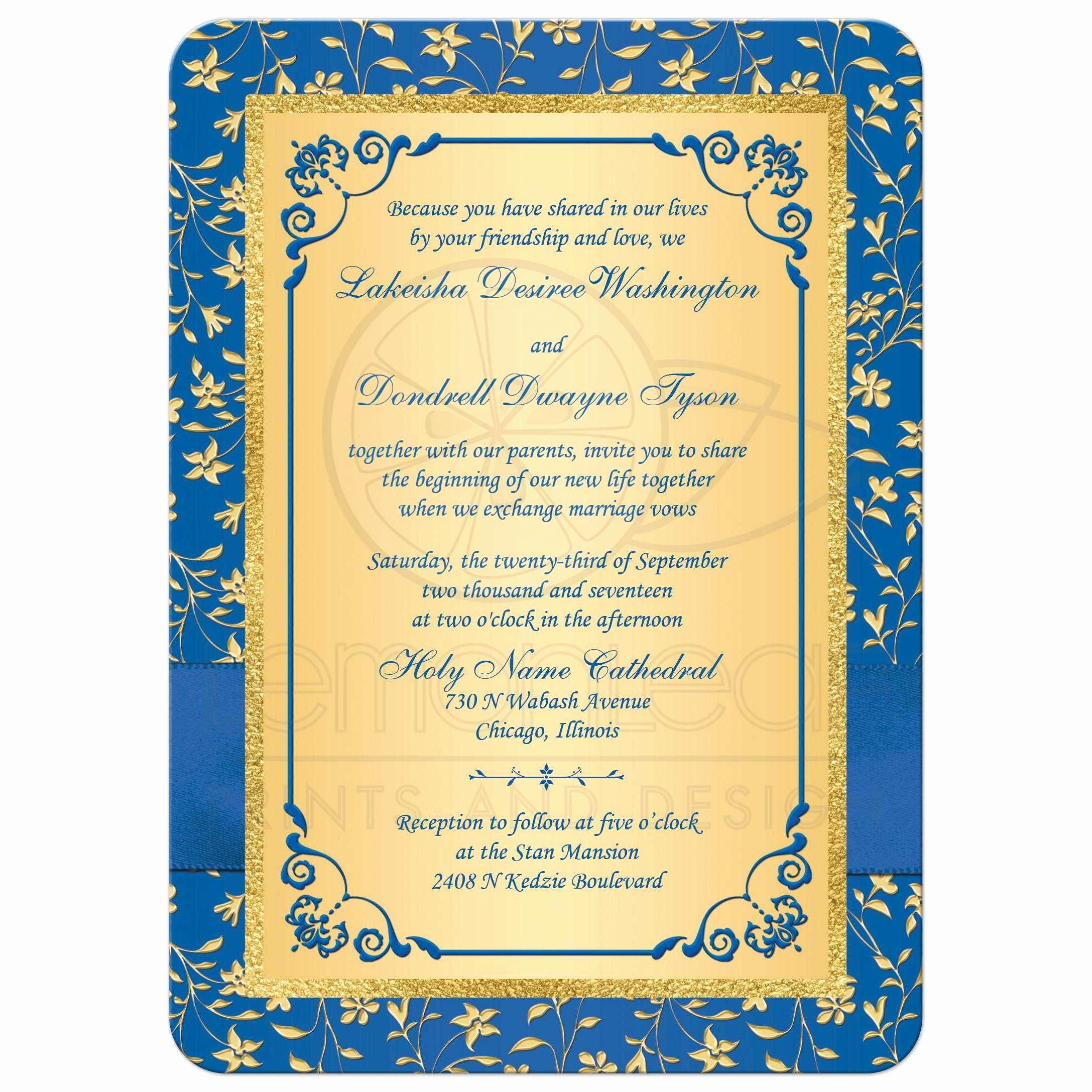 Blue and Gold Invitation Template Elegant Wedding Invitation Printed Ribbon Bow Double