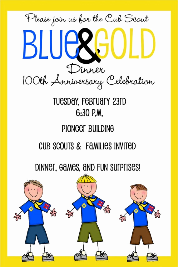 Blue and Gold Invitation Template Inspirational Cub Scouts Blue and Gold Banquet Invitation