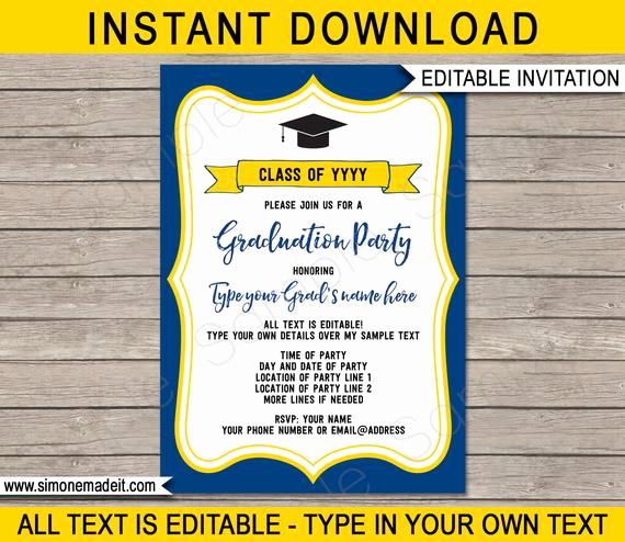 Blue and Gold Invitation Template Inspirational Graduation Party Invitations Navy Blue & Gold Yellow