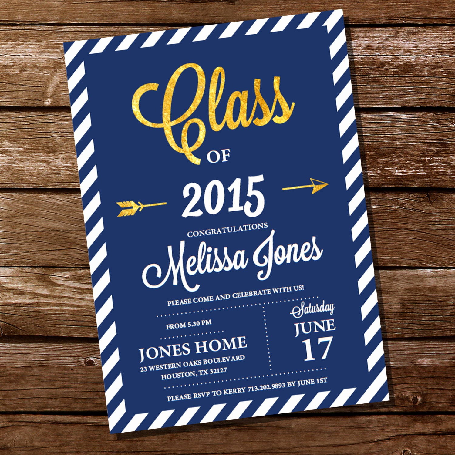 Blue and Gold Invitation Template Inspirational Navy Blue and Gold Graduation Invitation Gold Graduation