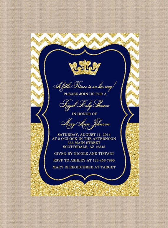 Blue and Gold Invitation Template Inspirational Prince Baby Shower Invitation Royal Blue Gold Baby Shower