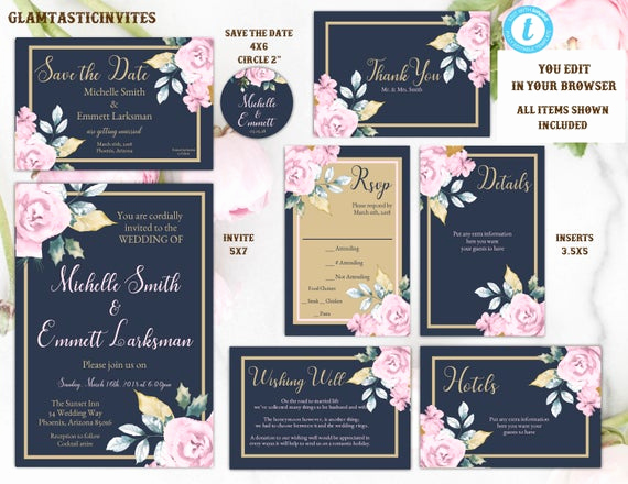 Blue and Gold Invitation Template Lovely Pink Navy Blue Gold Rose Wedding Invitation Template Blue