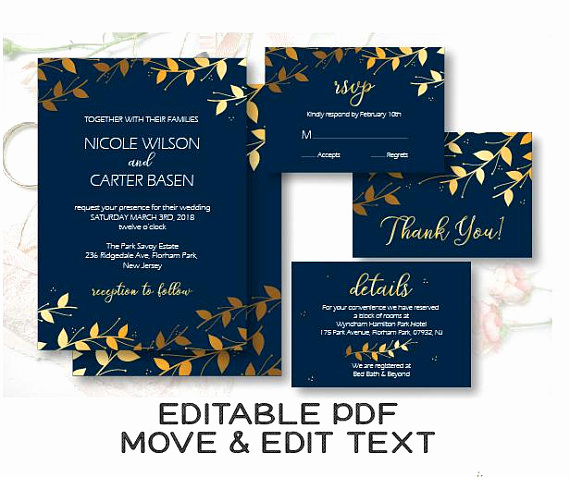 Blue and Gold Invitation Template Lovely Royal Blue Wedding Invitation Template Navy and Gold