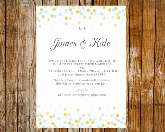 Blue and Gold Invitation Template Luxury Items Similar to Wedding Invitation Template Confetti