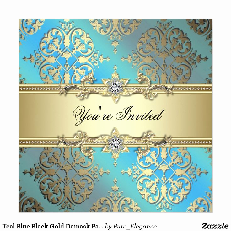 Blue and Gold Invitation Template New Best 25 Damask Party Ideas On Pinterest