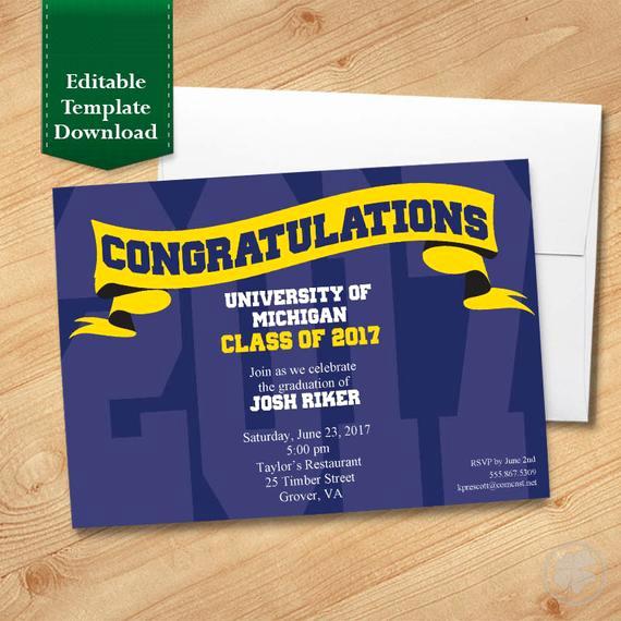 blue and gold graduation invitation