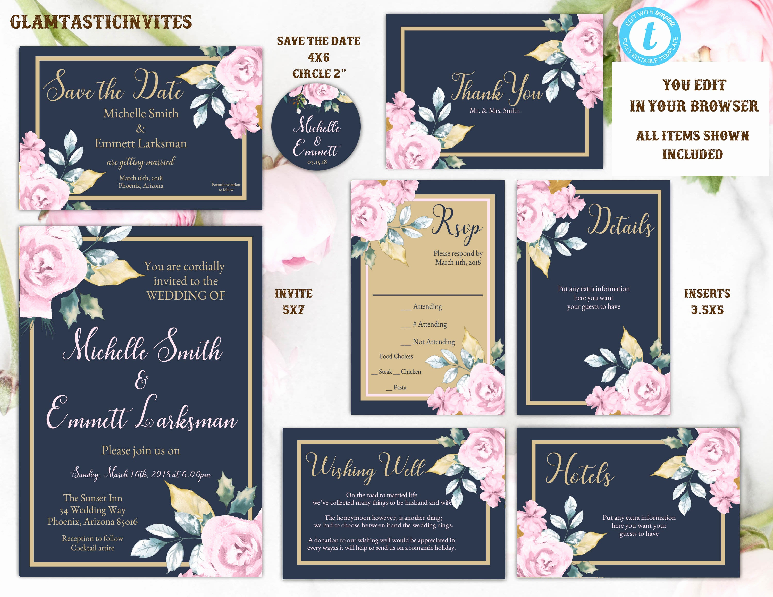 Blue and Gold Invitation Template New Pink Navy Blue Gold Rose Wedding Invitation Template Blue