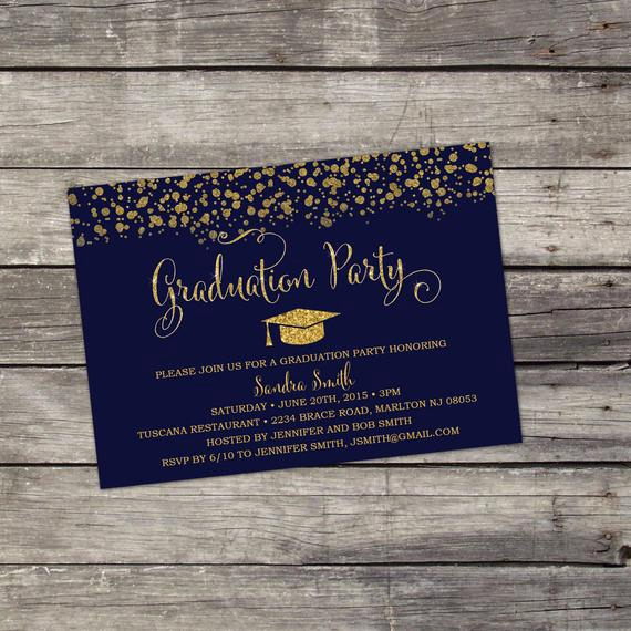 Blue and Gold Invitation Template New You Print Navy Blue and Gold Glitter Graduation by