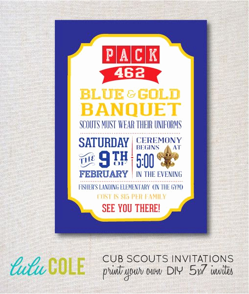 Blue and Gold Invitation Template Unique Cub Scout Blue and Gold Invitation Templates