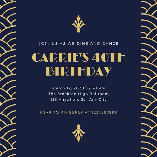 Blue and Gold Invitation Template Unique Customize 52 Great Gatsby Invitation Templates Online Canva