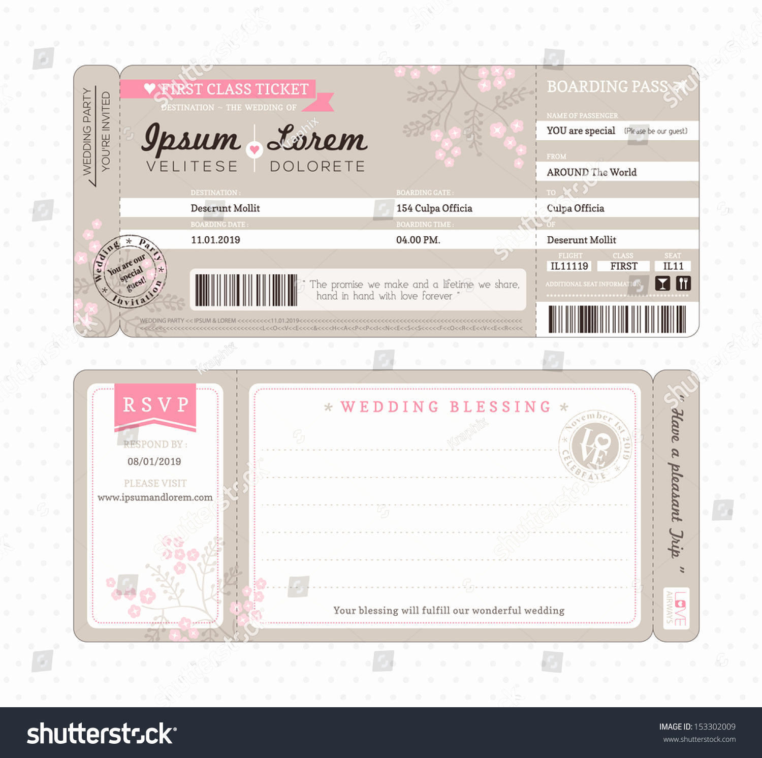 Boarding Pass Invitation Template Elegant Boarding Pass Ticket Wedding Invitation Template Stock