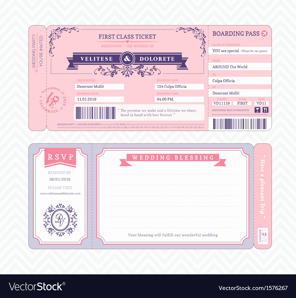 Boarding Pass Invitation Template Elegant Boarding Pass Wedding Invitation Template Vector Image