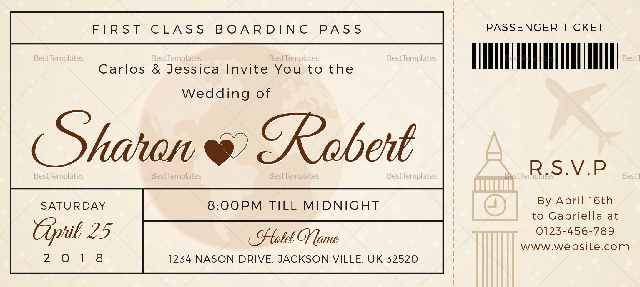 Boarding Pass Invitation Template Free Fresh Wedding Boarding Pass Invitation Ticket Design Template In