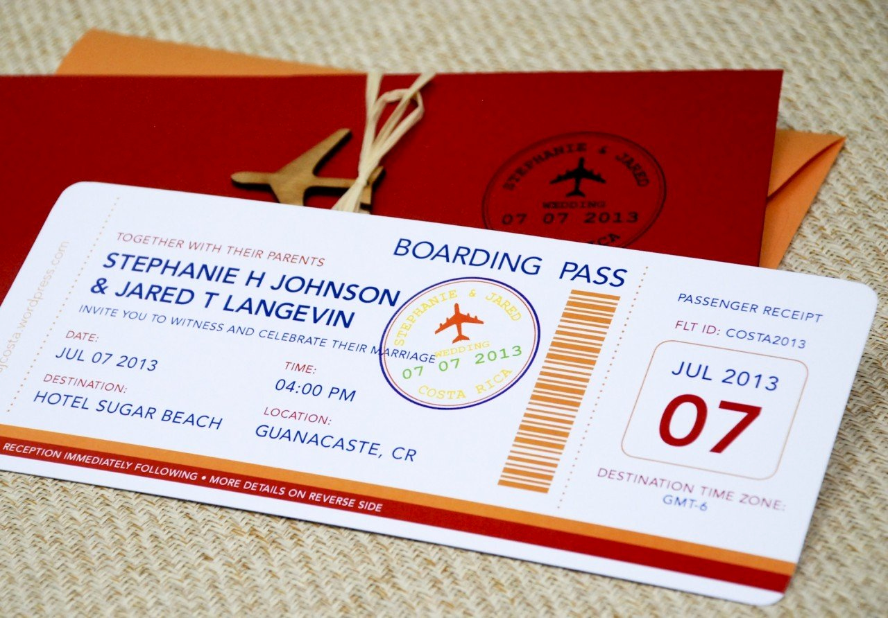 Boarding Pass Invitation Template Free Lovely Boarding Pass Wedding Invitation Template Wedding and
