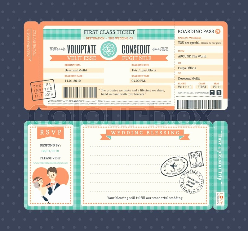 Boarding Pass Invitation Template Free Luxury Pastel Retro Boarding Pass Ticket Wedding Invitation