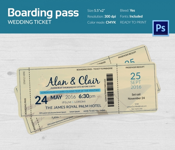 Boarding Pass Invitation Template Free New Boarding Pass Invitation Template 36 Free Psd format