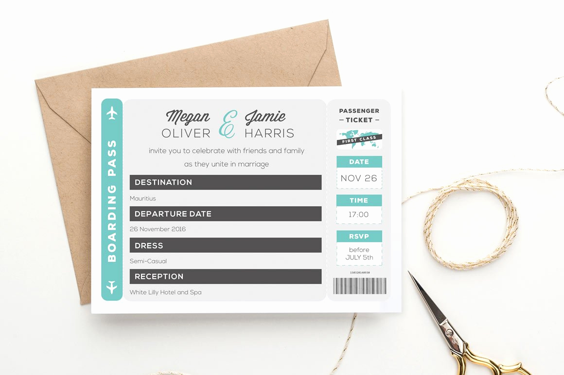Boarding Pass Invitation Template Free New Boarding Pass Wedding Invitation Wedding Templates