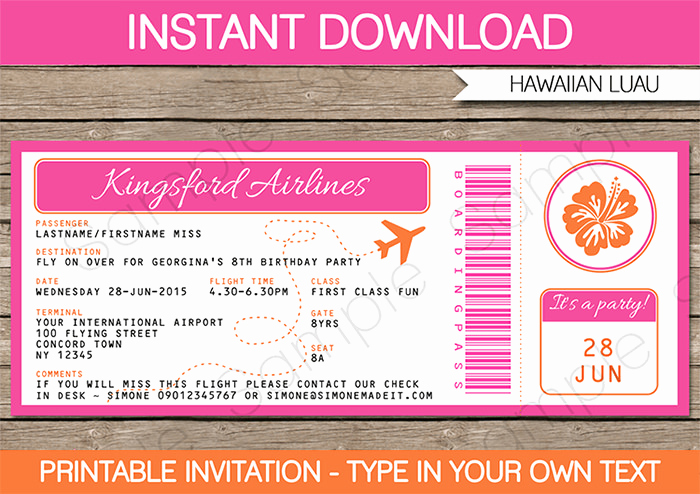 Boarding Pass Invitation Template Free Unique Luau Boarding Pass Invitations