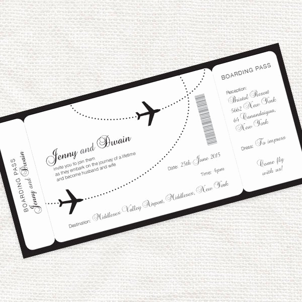 Boarding Pass Invitation Template Inspirational E Fly with Me Boarding Pass Wedding Invitation Printable
