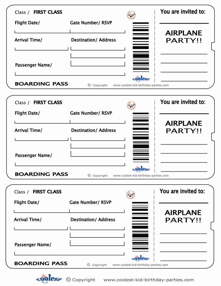 Boarding Pass Invitation Template Inspirational Printable Airplane Boarding Pass Invitations Coolest