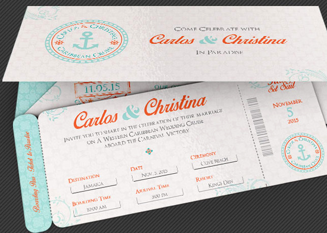 Boarding Pass Invitation Template Inspirational Wedding Cruise Boarding Pass Invitation Template by