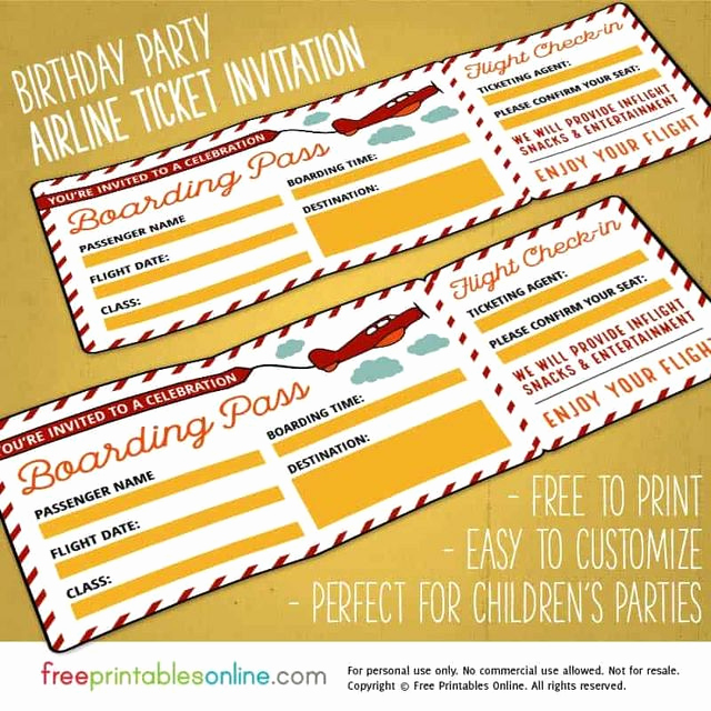 Boarding Pass Invitation Template Luxury Red & Yellow Birthday Party Boarding Pass Template