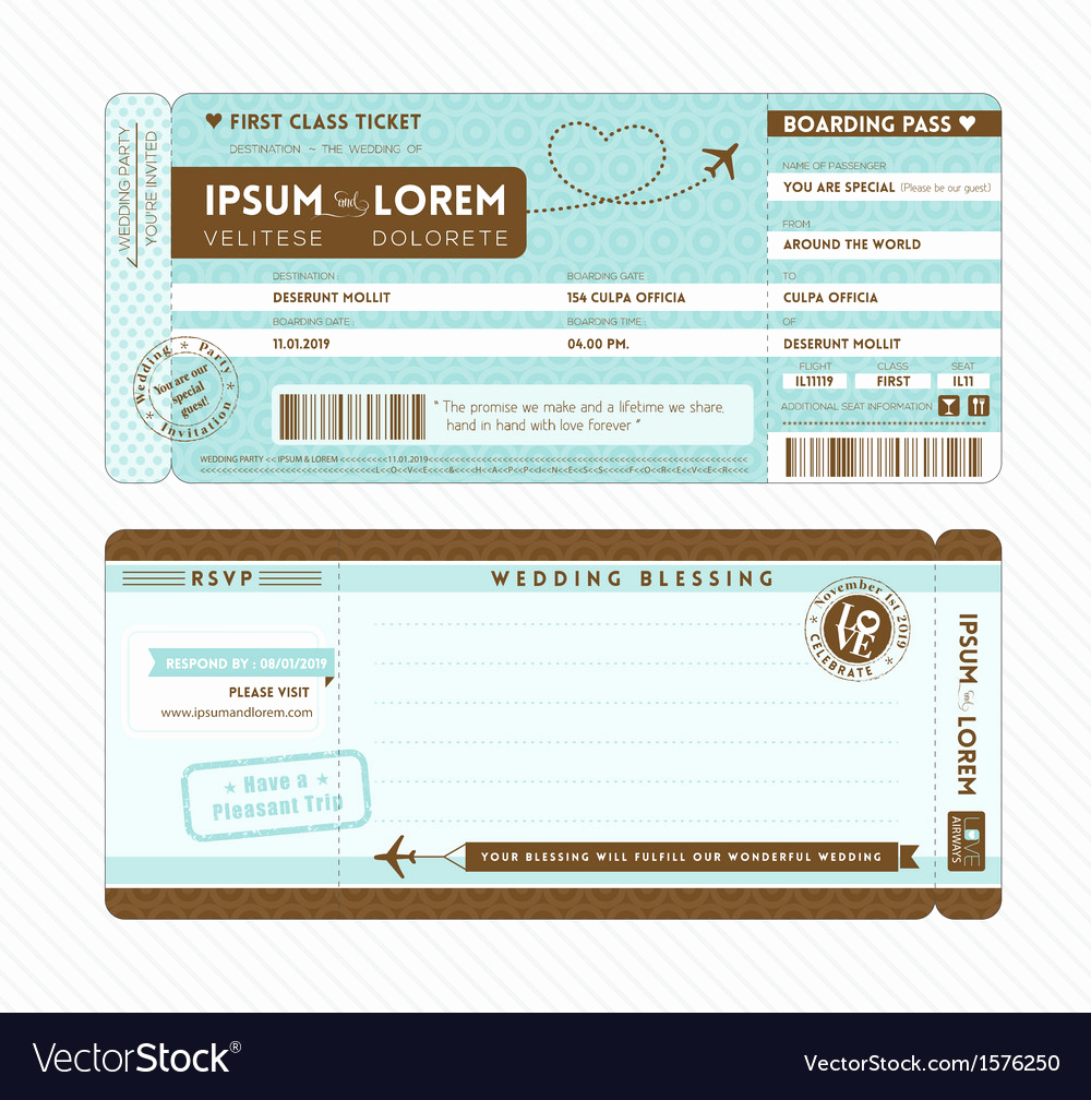Boarding Pass Invitation Template Unique Boarding Pass Wedding Invitation Template Vector Image