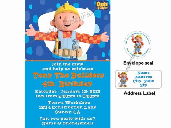 Bob the Builder Invitation Awesome Bob the Builder Birthday Custom by Luvcelebrationpatrol On