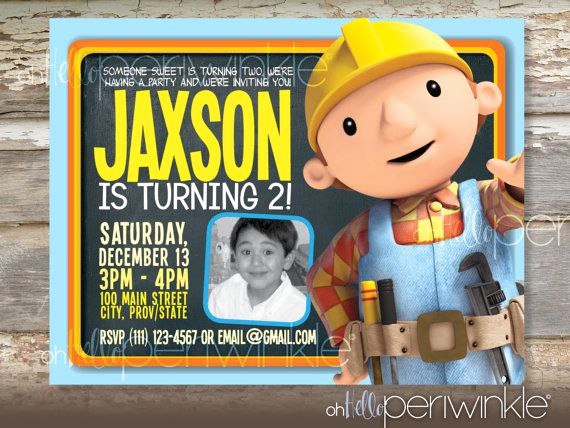 Bob the Builder Invitation Awesome Bob the Builder Birthday Invitation by Ohhelloperiwinkle