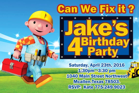 Bob the Builder Invitation Beautiful 1 Bob the Builder Birthday Invitation Card by Partydesignshop1