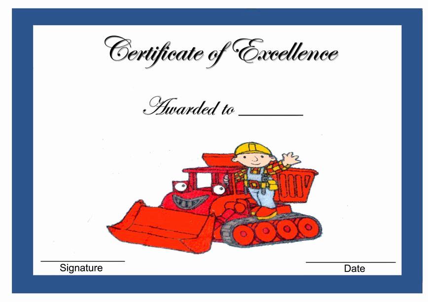 Bob the Builder Invitation Beautiful Bob the Builder themed Award Certificates