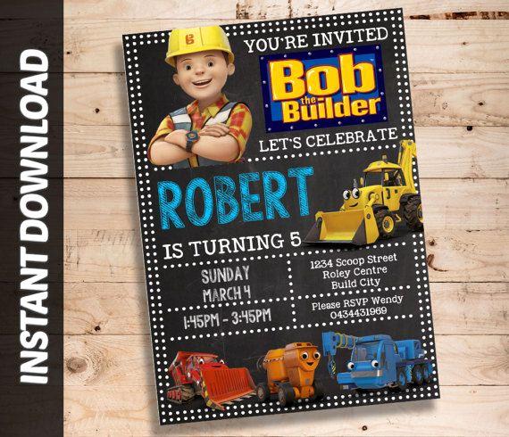 Bob the Builder Invitation Best Of Bob the Builder Invitation Editable Invite Bob by