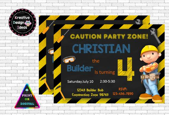 Bob the Builder Invitation Inspirational Bob the Builder Birthday Party Invitation by