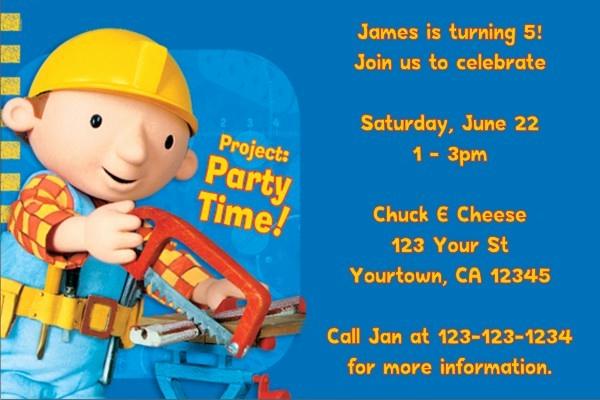 Bob the Builder Invitation Inspirational Bob the Builder Invitations 2 Personalized Party Invites