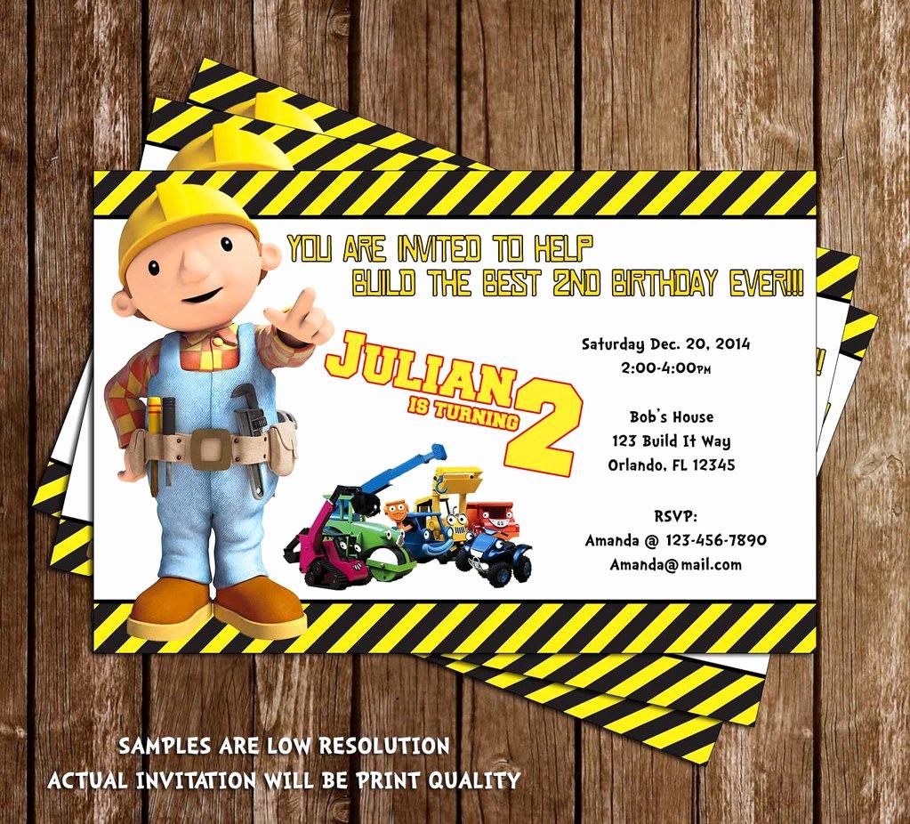 Bob the Builder Invitation Lovely Novel Concept Designs Bob the Builder Birthday Invitation