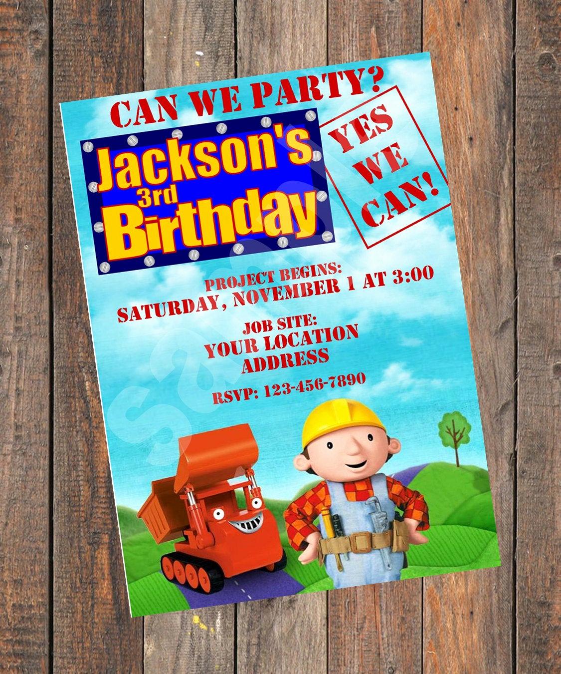 Bob the Builder Invitation Luxury Bob the Builder Birthday Invitation original by
