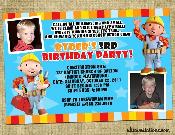 Bob the Builder Invitation New 13 Best Images About Bob the Builder Invitations On