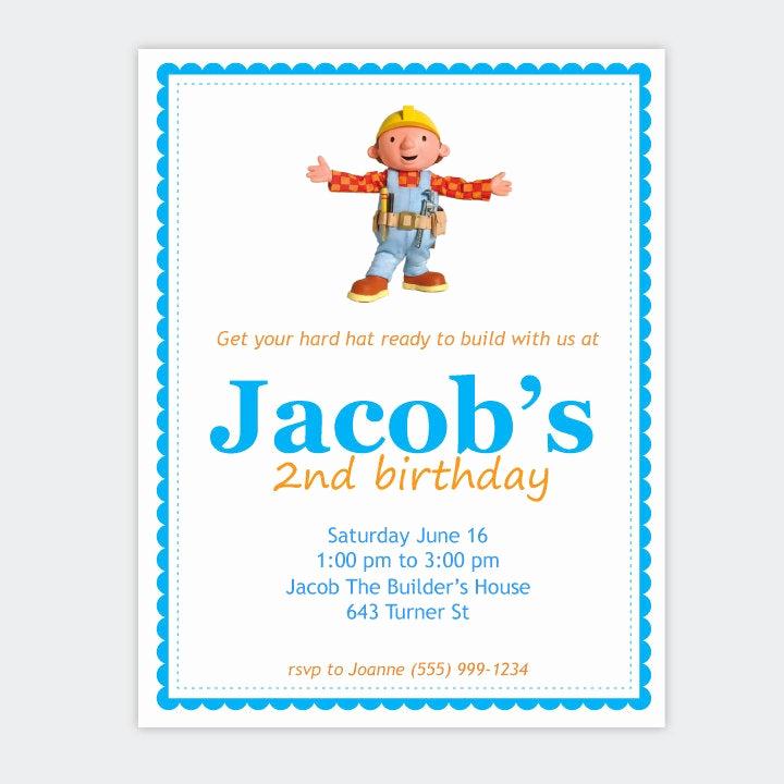 Bob the Builder Invitation New Bob the Builder Birthday Party Invitation Boy by