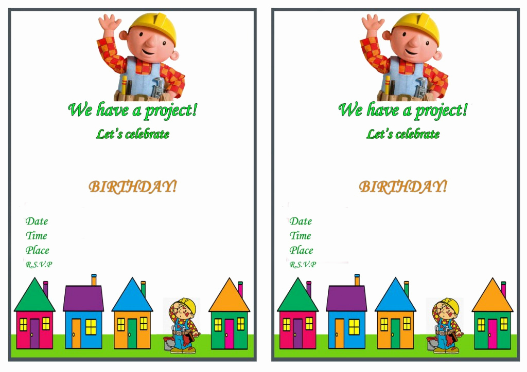 Bob the Builder Invitation Unique Bob the Builder Birthday Invitations
