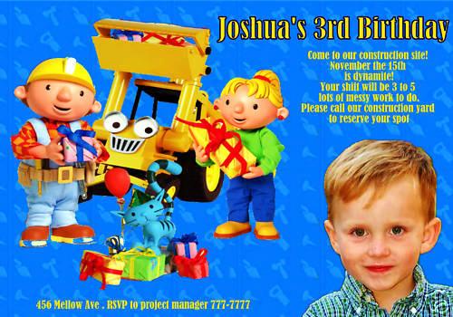 Bob the Builder Invitation Unique Personalized Bob the Builder Birthday Invitation
