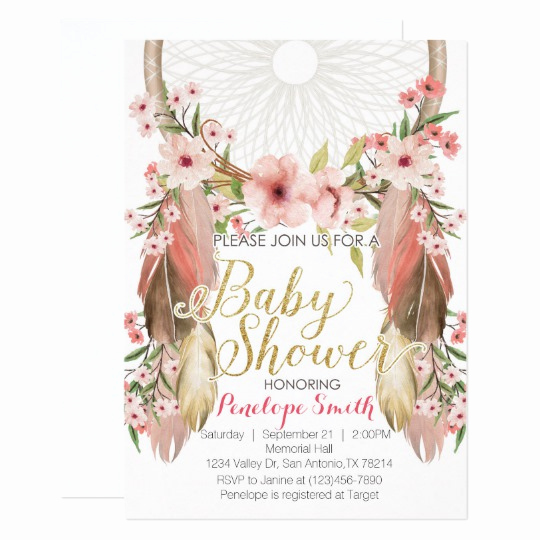 Boho Baby Shower Invitation Beautiful Boho Pink Gold Dreamcatcher Baby Shower Invitation