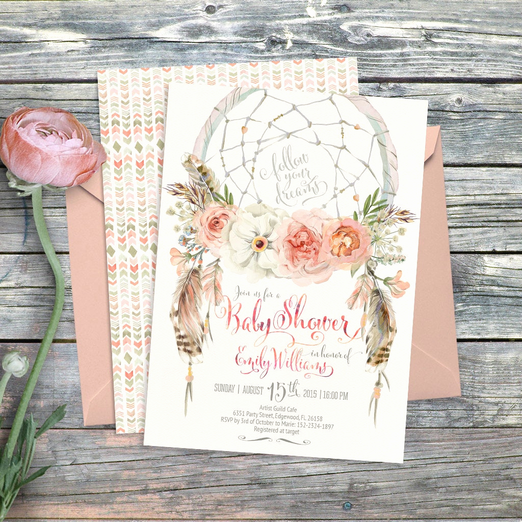 Boho Baby Shower Invitation Beautiful Dreamcatcher Boho Baby Shower Invitation Digital Printable