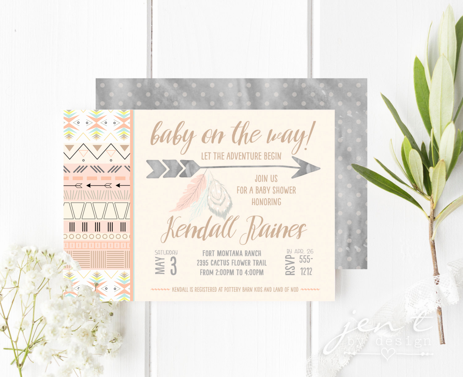 Boho Baby Shower Invitation Elegant Boho Chic Aztec Baby Shower Invitations