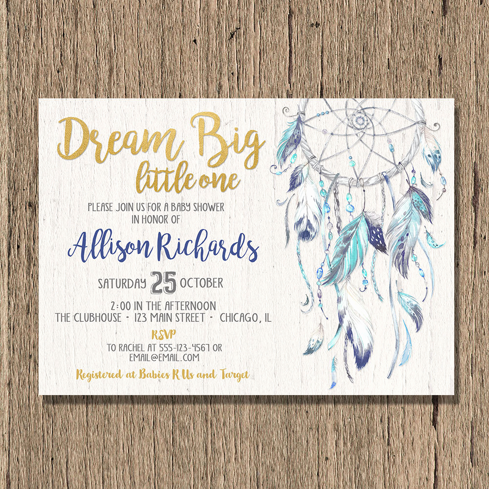 Boho Baby Shower Invitation Fresh Dreamcatcher Baby Shower Invitation Boy Boho Baby Shower