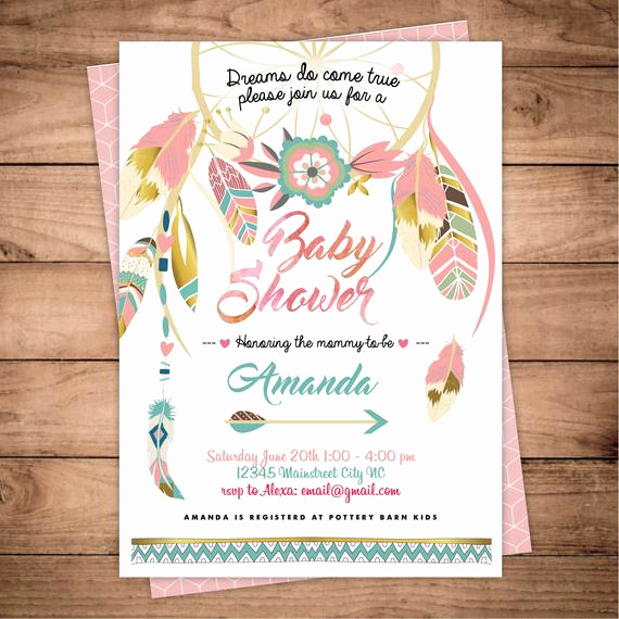 Boho Baby Shower Invitation Fresh Dreamcatcher Boho Baby Shower Invitation Digital Printable