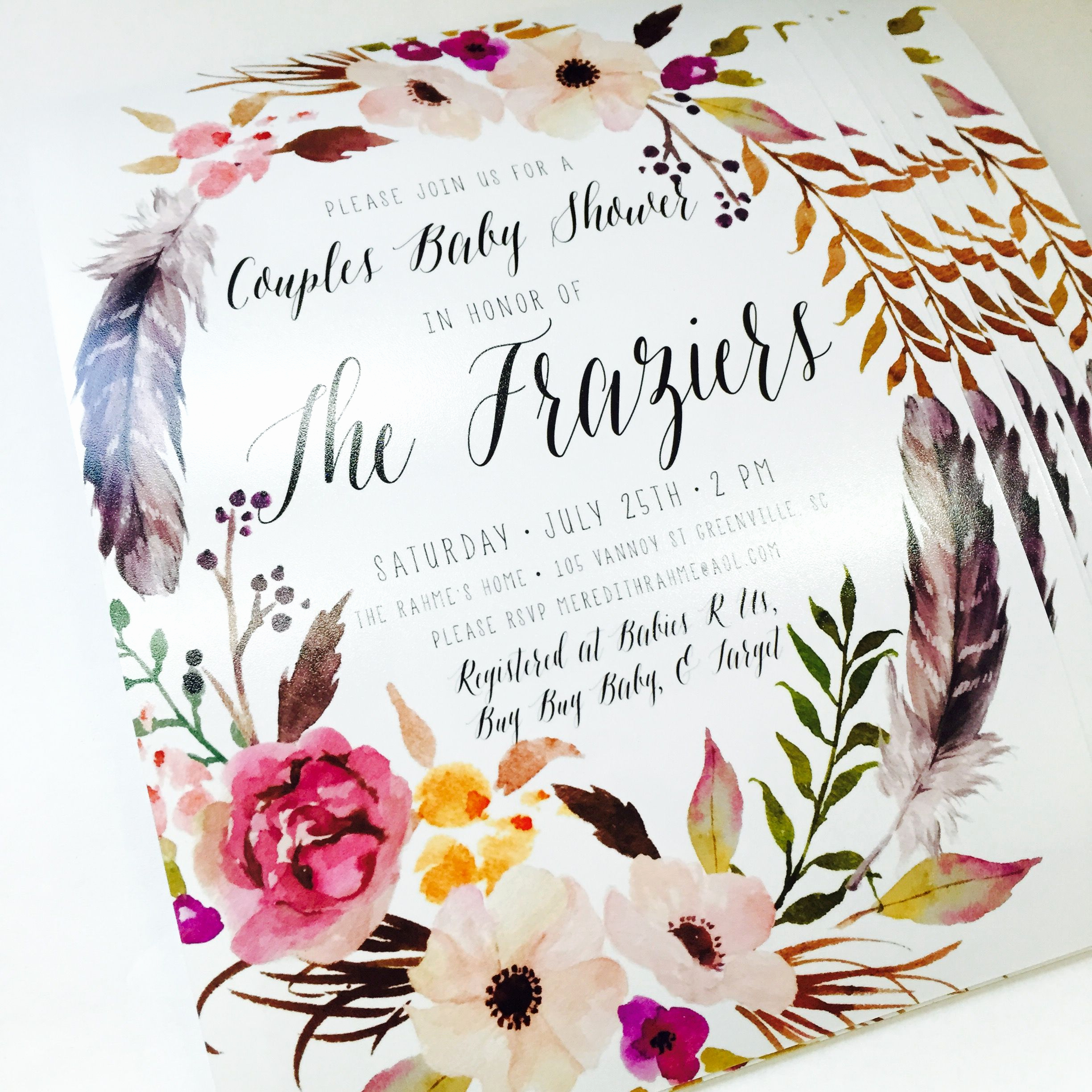 Boho Baby Shower Invitation Inspirational Girl Boho Baby Shower Invitation Feather Flower