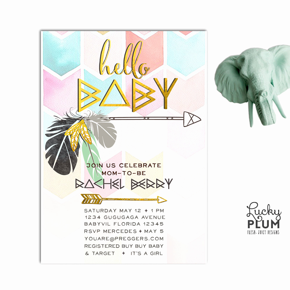 Boho Baby Shower Invitation Lovely Boho Arrow Baby Shower Invitation Bohemian Feather Invite
