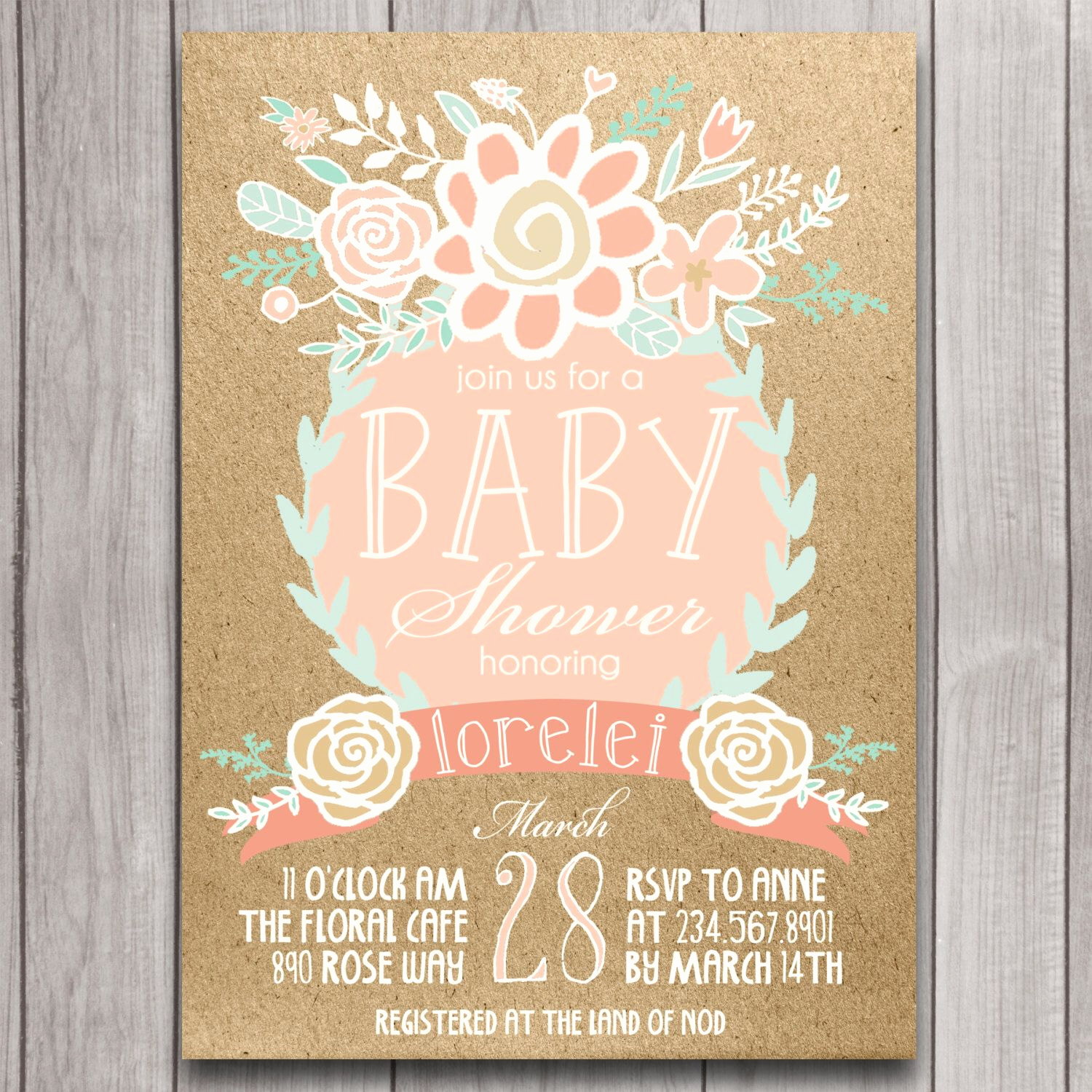 Boho Baby Shower Invitation Lovely Boho Baby Shower Invitation Printable Coral Mint Gold