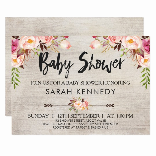 Boho Baby Shower Invitation Luxury Floral Boho Rustic Baby Shower Invitation