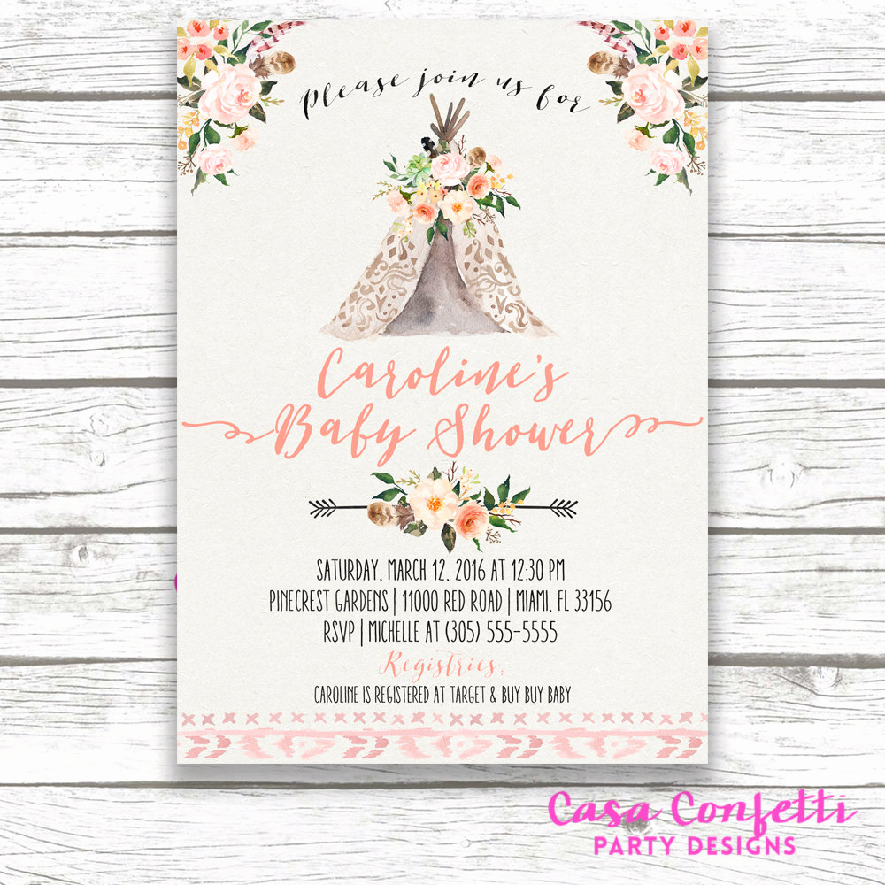 Boho Baby Shower Invitation Luxury Teepee Baby Shower Invitation Boho Baby Shower Invitation
